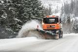 Fototapeta Kawa jest smaczna - Snow plow truck, Winter highway maintenance