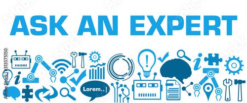 Ask An Expert AI Technology Texture Bottom Blue Canvas Print