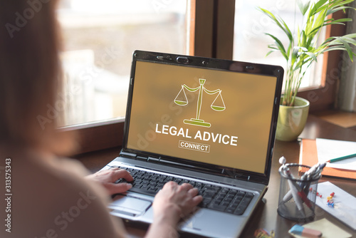 Legal advice concept on a laptop screen Wallpaper Mural