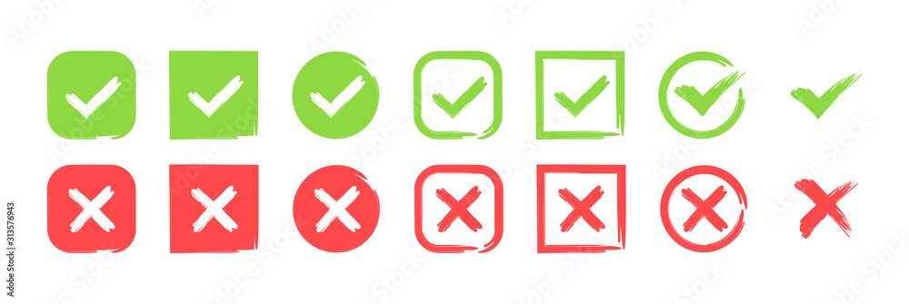 Fototapeta Green check mark and red cross icon set. Circle and square. Tick symbol in green color, vector illustration.