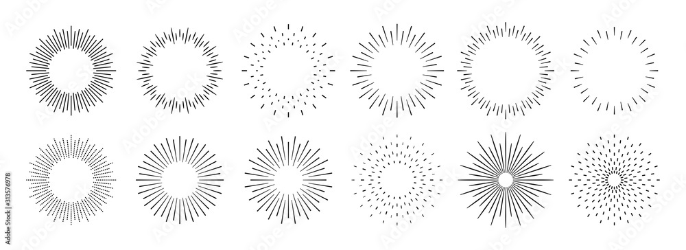 Fototapeta Sunburst set. Big collection sunburst best quality. Star, firework explosion, logo, emblem, tag. Web banner. Vector Illustration.