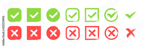 Photo Green check mark and red cross icon set