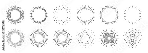 Fototapeta Sunburst set. Big collection sunburst best quality. Star, firework explosion, logo, emblem, tag. Web banner. Vector Illustration. obraz