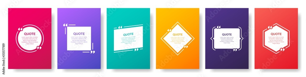 Fototapeta Quote box frame, big set. Quote box icon. Texting quote boxes. Blank template quote text info design boxes quotation bubble blog quotes symbols. Creative vector banner illustration.