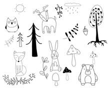 Woodland Friends Doodle Cute I...