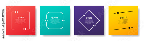 Fototapeta Quote box frame, big set. Quote box icon. Texting quote boxes. Blank template quote text info design boxes quotation bubble blog quotes symbols. Creative vector banner illustration. obraz