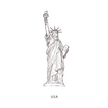 Travel Illustration With Attraction Of USA