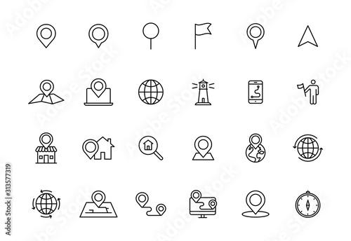 Set of 24 Navigation and location web icons in line style Obraz na płótnie