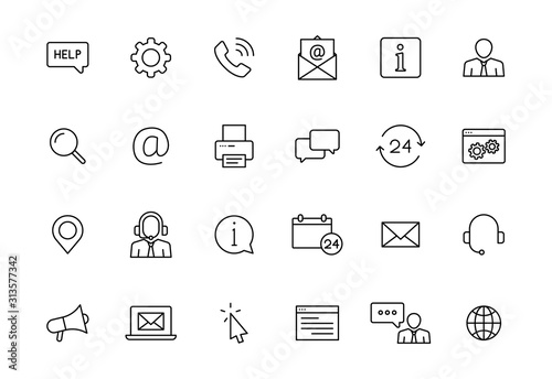 Photo Set of 24 Support and Help web icons in line style