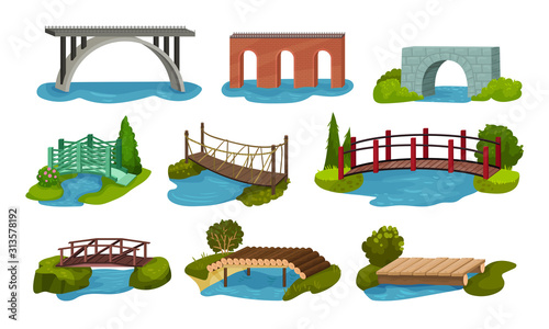 Obraz na plátne Different Bridges Collection, Wooden, Metal, Brick and Concrete Bidge Vector Ill