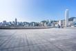 city skyline with empty floor
