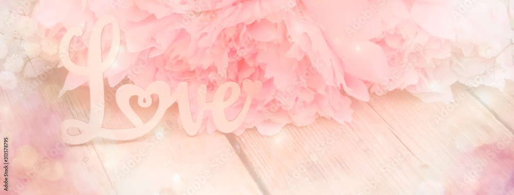 Fototapeta abstract background with flowers  - pink peony - love concept - background banner - spring, wedding, mothers day