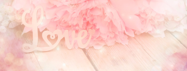 abstract background with flowers - pink peony - love concept - background banner - spring, wedding, mothers day