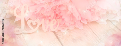 Fototapeta abstract background with flowers  - pink peony - love concept - background banner - spring, wedding, mothers day obraz