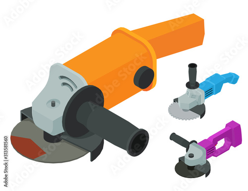 Fototapeta Angle grinder icons set