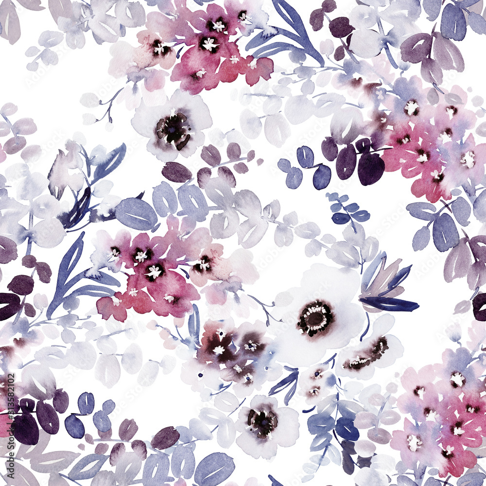 Fototapeta Seamless watercolor pattern with anemones and delicate spring flowers.