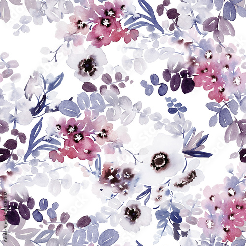 Obraz Seamless watercolor pattern with anemones and delicate spring flowers. - fototapety do salonu