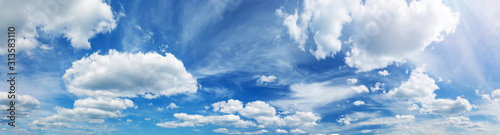 white fluffy clouds on blue sky in summer Wallpaper Mural