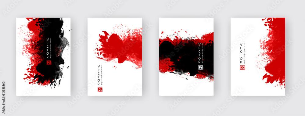 Fototapeta vector abstract black red ink brush stroke