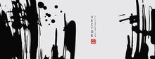 Black Ink Brush Stroke On White Background. Japanese Style.