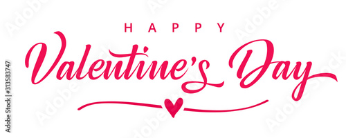 Fotomural Valentines day background with heart in line and elegant typography of happy valentine`s day text