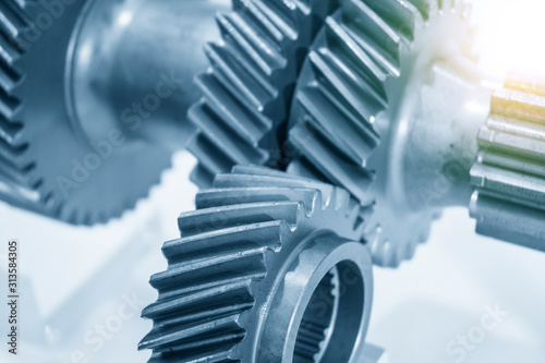The close-up scene of transmission gear parts  with lighting effect Fototapet