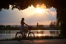 Young Woman Rides A Vintage Bi...