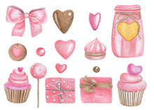 Watercolor Illustration Of A Set Of Elements. Valentine's Day. Postcards.