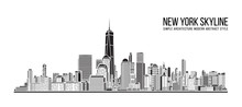 Cityscape Building Simple Architecture Modern Abstract Style Art Vector Illustration Design - New York City