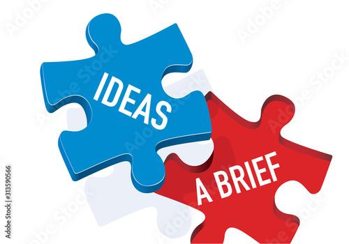 Photo Concept de la créativité et du brainstorming avec le symbole d'une pièce de puzzle portant le mot idées qui recouvre l'inscription brief en apportant la réponse