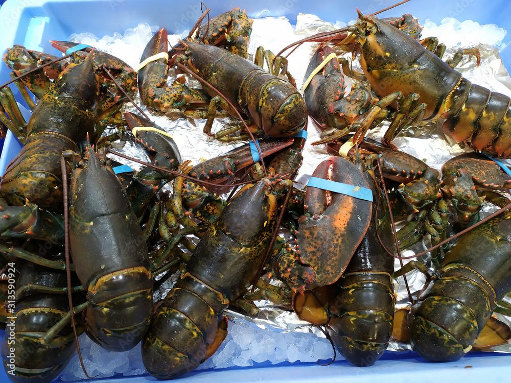 Fototapeta Stall of seafood fish market in Spain.