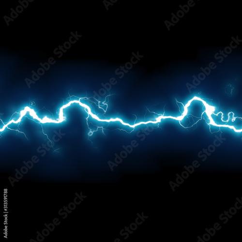 Obraz seamless horizontal high voltage electricity blue lightning - fototapety do salonu