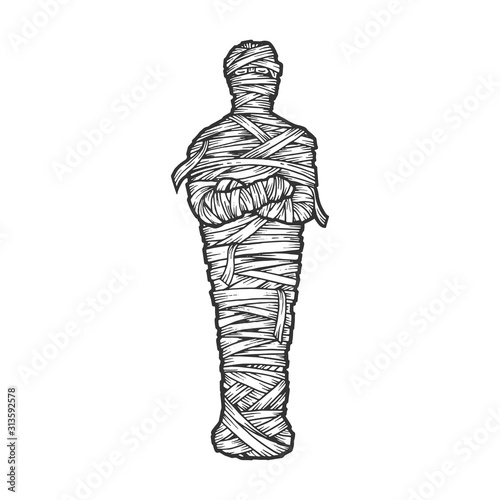 Fotografia Ancient Egyptian mummy from sarcophagus sketch engraving vector illustration