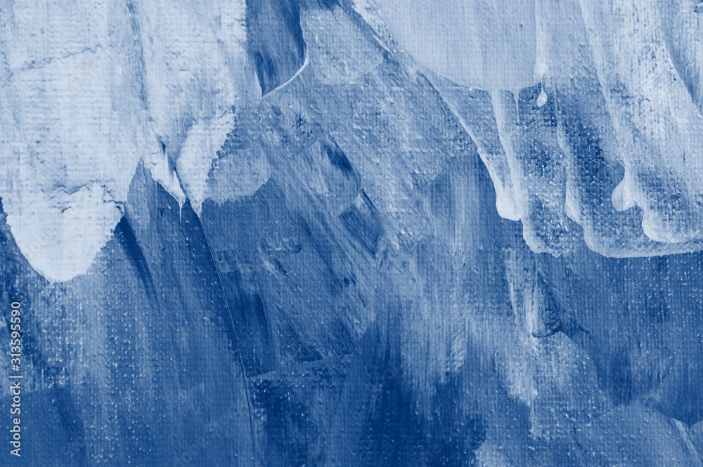Fototapeta Classic blue tone abstract coloring wall painted by paper. trendy 2020 year color