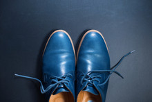 Blue Men's Leather Shoes On Dark Background