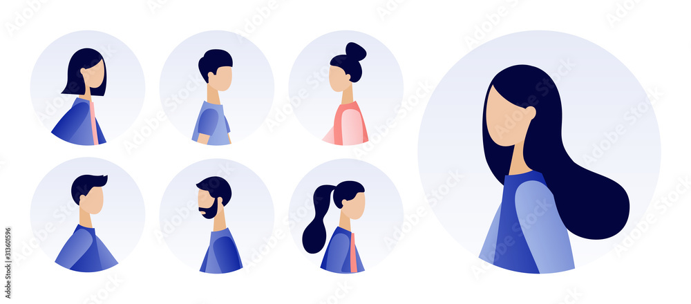 Fototapeta Avatar profile picture icon set. Young men and women portraits set. Modern flat cartoon style. Vector illustration on white background
