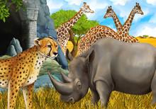 Cartoon Scene With Giraffes Rh...