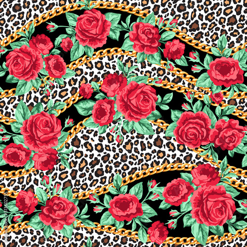 Fotografía Fashion trendy seamless pattern with rose flowers, gold chains and leopard skin
