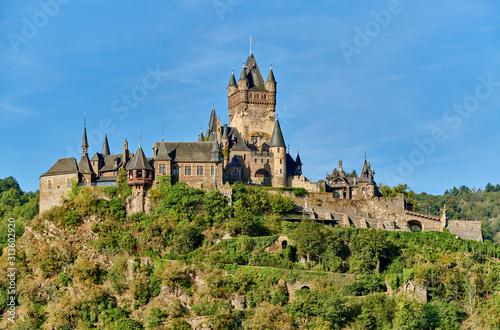 Fototapeta Beautiful Reichsburg castle on a hill in Cochem, Germany obraz