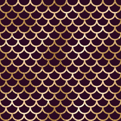 Fototapeta Art Deco Seamless art deco geometric pattern with scales on purple background