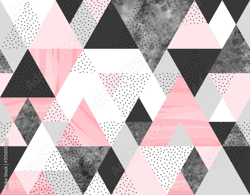 Fototapeta Seamless geometric abstract pattern with pink, spotted and gray watercolor triangles on white background obraz