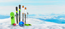 Ski Equipment Pinned To The Sn...