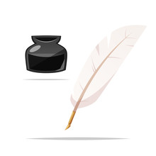 Feather Quill Pen And Ink Vector Isolated Illustration