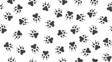 Pet Paw Vector Seamless Pattern With Flat Icons. Black White Color Animal Tracks Texture. Dog, Cat Footprint Background, Abstract Foot Print Silhouette Wallpaper For Veterinary Clinic