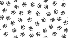Pet Paw Vector Seamless Patter...