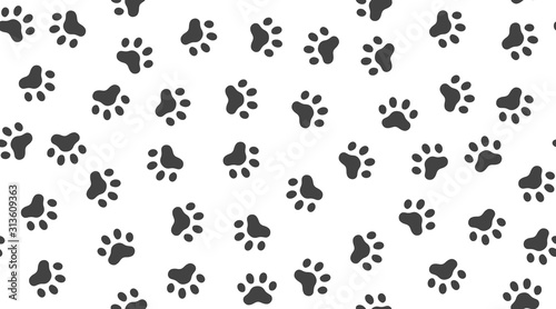 fototapeta na drzwi i meble Pet paw vector seamless pattern with flat icons. Black white color animal tracks texture. Dog, cat footprint background, abstract foot print silhouette wallpaper for veterinary clinic