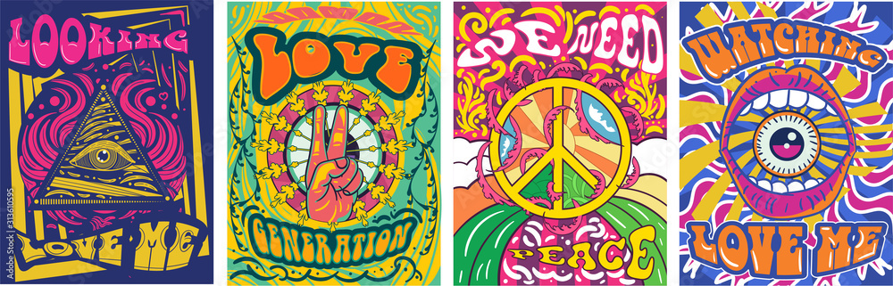 Fototapeta Vibrant colorful We Need Peace design in retro hippie style with peace symbol and text over abstract patterns, vector illustration - obraz na płótnie