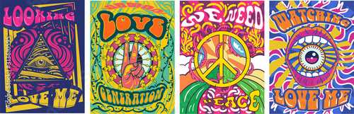 Fototapeta Vibrant colorful We Need Peace design in retro hippie style with peace symbol and text over abstract patterns, vector illustration obraz na płótnie