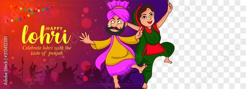 Vászonkép Illustration of Happy Lohri holiday banner background for Punjabi festival with PNG