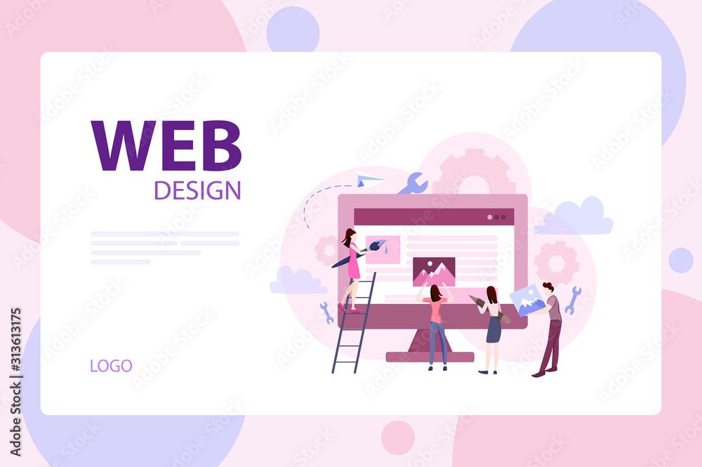 Fototapeta Mobile app and web development banner concept set.